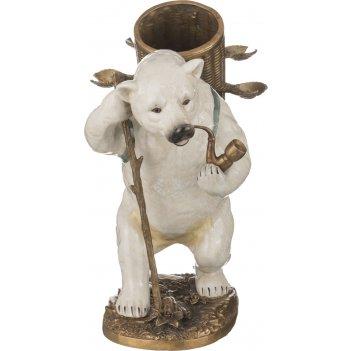 Изделие декоративное медведь с трубкой 49*18 см высота=25 см (кор=2шт.)