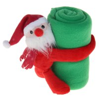 Набор подарочный этелька нг 2 пр санта в колпачке, плед зеленый 75*100 см,