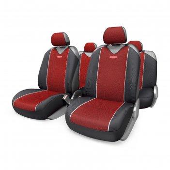 Чехол-майка autoprofi carbon plus crb-902p bk/rd, закрытое сиденье, полиэс
