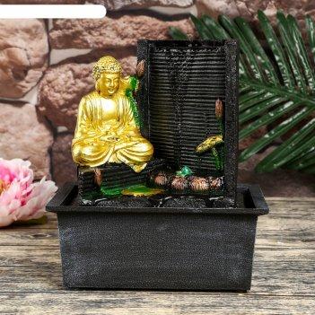 Фонтан настольный полистоун от сети свет будда у фонтана-дождь 24,5х21х15,