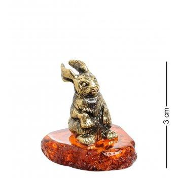 Am-1530 фигурка зайчик (латунь, янтарь)