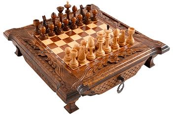 Шахматы резные в ларце 40, haleyan (40х40см)