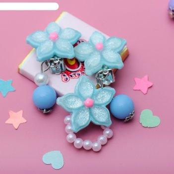 Набор детский выбражулька 2пр: клипсы, кольцо, цветы, цвет микс