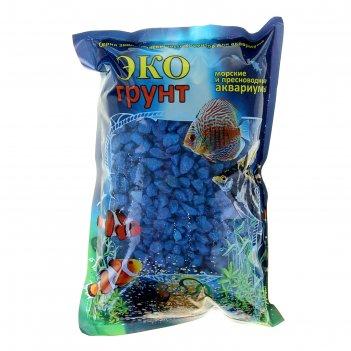 Грунт для аквариума мраморная крошка темно-синяя блестящая 5-10 мм, 1 кг