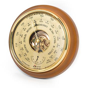 Барометр термометр бтк-сн 16, шлифованное золото 21х5см