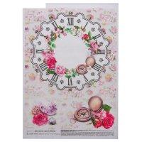 Декупажная карта geronimo циферблат цветы и компас (набор 3 шт) формат а4