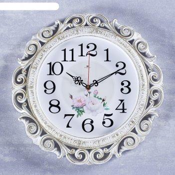 Часы настенные, серия: цветы, хостон, белое золото 40.5 см