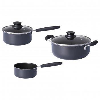 Набор кухонной посуды квэлльсвард, 3 предметa, цвет серый