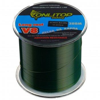 Леска капрон v8 на карпа, темно-зеленая d=0,4 мм, 300 м, 20,2 кг