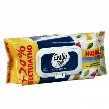 Промо эмили стайл влаж салфетки tropic 100+20 шт.эконом, +20% бесплатно) (