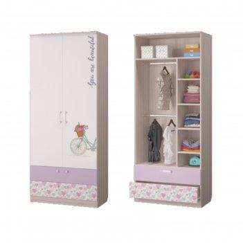 Шкаф для одежды с 2-мя ящиками адель, 901х446х2136, ясень светлый/белый