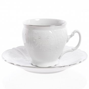 Набор чайных пар бочка bernadotte платиновый узор 240 мл(6 пар)