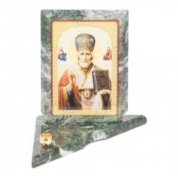 Икона с подсвечником николай чудотворец средняя змеевик 120х120х130 мм 600
