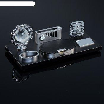 Набор настольный: часы, визитница, глобус, лоток для скрепок, подставка дл