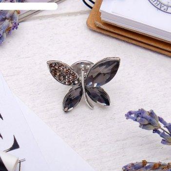 Значок бабочка, цвет серый в серебре