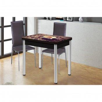 Обеденный стол ника, поворотно-раскладной, стекло, ножки хром/подстолье ве