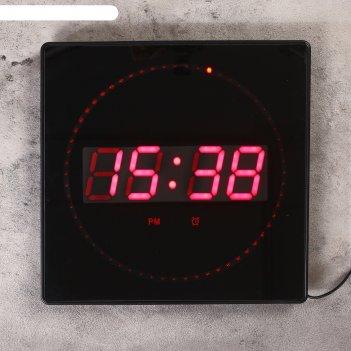 Часы настенные электронные с термометром и будильником, красные цифры 32х3
