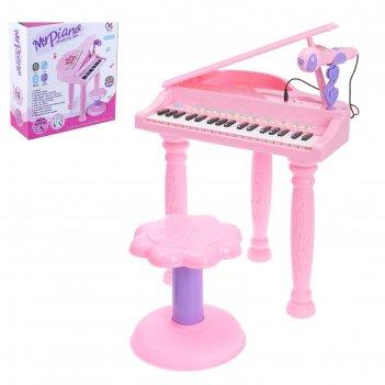 Пианино «розовая мечта» с микрофоном и стульчиком, световые и звуковые эфф
