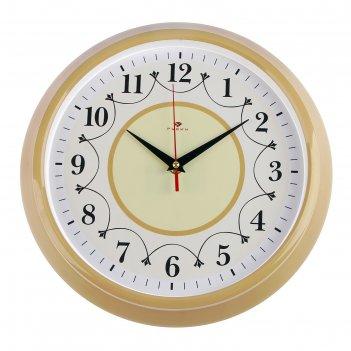 Часы настенные круглые классика с узором, 30 см, обод бежевый