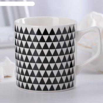 Кружка 200 мл треугольники, цвет чёрно-белый