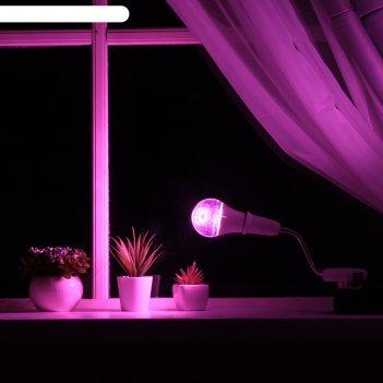 Светильник для растений 12 вт, 9 мкмоль/с, гибкая ножка 15 см, выкл на кор