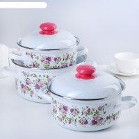 Набор кастрюль китайская роза: 1,5 л, 2 л, 3 л