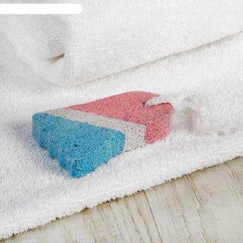 Пемза для педикюра «ступня», 9 x 6 см, цвет белый/синий/красный