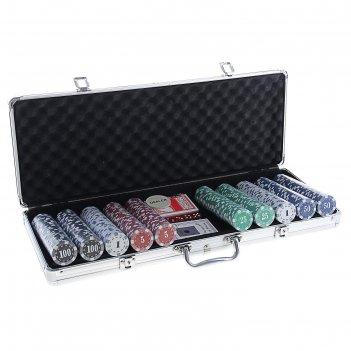 Набор для покера: 2 колоды карт 54 шт., 500 фишек с номиналом, 5 кубиков,