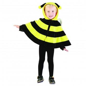Карнавальная накидка с капюшоном пчелка, рост 92-104 см, 2-4 года