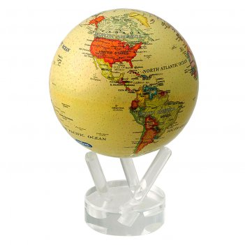 Глобус мобиле d12 см с  политической картой мира, цвет бежевый