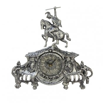 Часы коша, каминные бронзовые с покрытием  серебро
