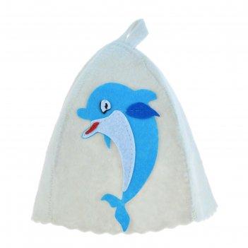 Банная шапка с детской аппликацией дельфинчик, войлок
