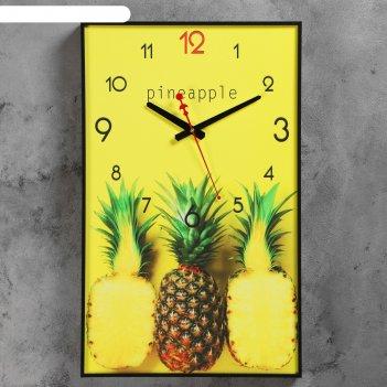 Часы настенные, серия: кухня, ананасы, 37х60 см