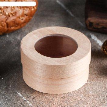 Коробочка подарочная из шпона с прозрачной крышкой, 75 х 40 мм