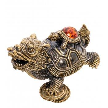 Am-2206 фигурка черепаха драконовая (латунь, янтарь)