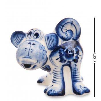 Гл-689 фигурка обезьяна (гжельский фарфор)