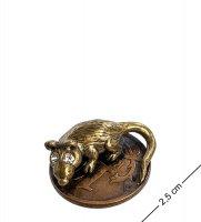 Am-1065 фигурка-кошельковая мышь-хранительница на монетке (латунь, янтарь)