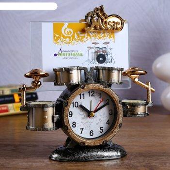 Часы будильник барабаны с фоторамкой 20х6х21 см