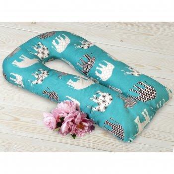 Наволочка на подушку для беременных, размер 35 x 340 см, принт слоники