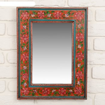 Зеркало красные цветы