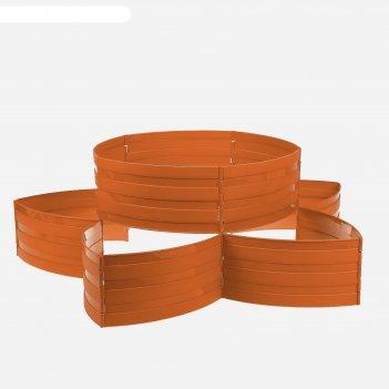Клумба пластиковая, 15 x 540 см, 18 секций, коричневая, «конструктор»