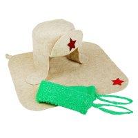 Набор банный ушанка (шапка, коврик, мочалка)