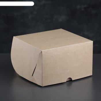Упаковка для капкейков без окна, крафт, на 4 шт, 16 х 16 х 10 см
