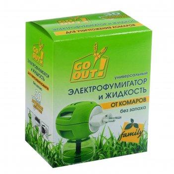 Комплект от комаров go out, 30 ночей (жидкость + электрофумигатор), 20 мл