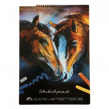 Альбом д/пастели а3 30л кони, шелког,софт-тач, бл черный+хлопок 150г/м2 49