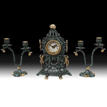 Часы настольные часовня малые с канделябрами на 2 свечи, набор из 3 предм.