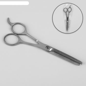 Ножницы парикмахерские, филировочные, с упором, лезвие — 6,5 см, цвет сере