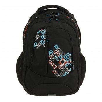 Рюкзак молодежный эргономичная спинка stavia 41*27*17 «ромбы», чёрный/рыжи
