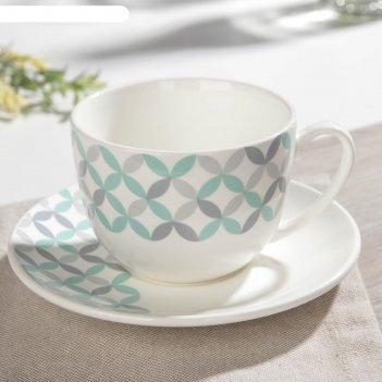 Чайная пара «мозаика»: блюдце 14 см, чашка 240 мл