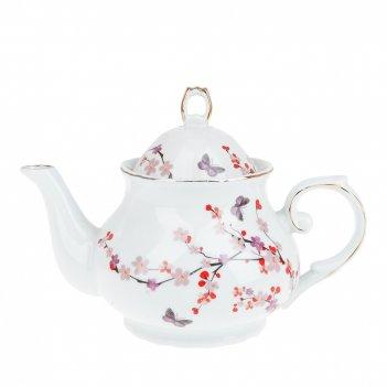 Чайник заварочный цветы россии v=980мл. (4вида) (фарфор) (блис